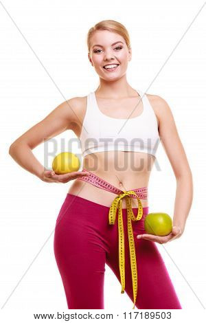 Smiling Woman With Grapefruits Measuring Tape.