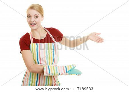 Housewife Kitchen Apron Making Inviting Welcome Gesture
