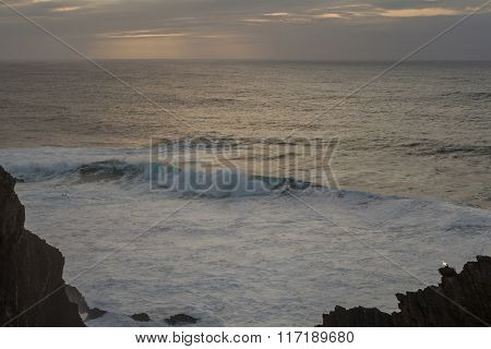Wild Atlantic Waves On Portugal's Coast At Cabo Sardao