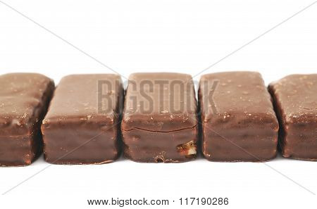 Line of chocolate waffle candies