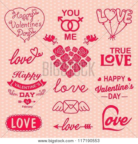 Valentines day design with labels, icons elements collection