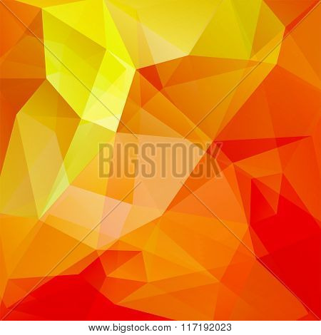 Polygonal Vector Background. Red, Orange, Yellow Colors. Can Be Used In Cover Design, Book Design, W