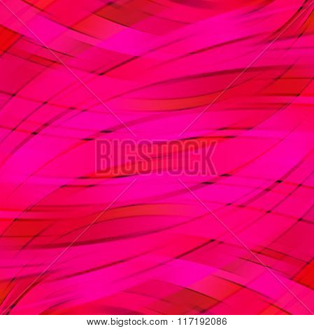 Vector Illustration Of Pink, Red Abstract Background With Blurred Light Curved Lines. Vector Geometr
