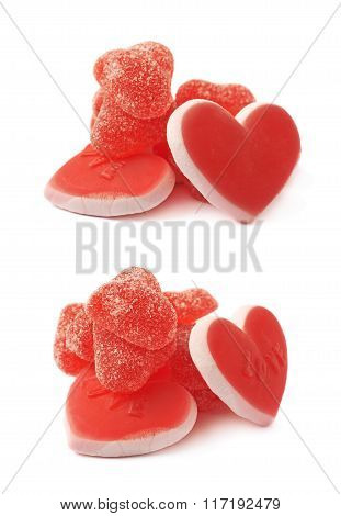 Pile of red candies isolated