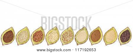 nine gluten free grains (black quinoa, buckwheat, amaranth, teff, sorghum, kaniwa, millet, and brown rice) - a row of leaf shaped ceramic bowls isolated on white with a copy space