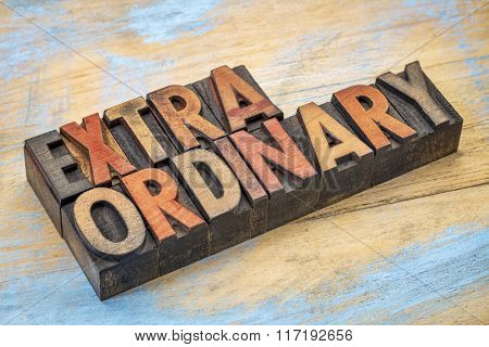 extraordinary word abstract in vintage letterpress wood type printing blocks stained by color inks