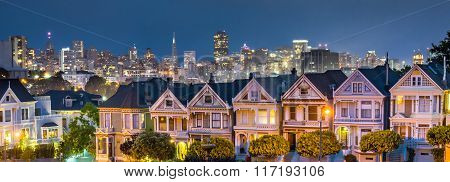 Blue Hour At Alamo Square