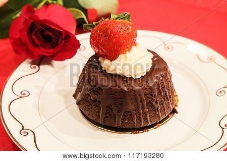 Chocolate Cake with a Side of Roses Rose