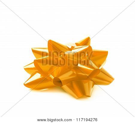 Decorational ribbon gift bow isolated