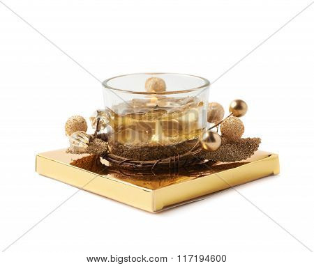 Golden Christmas candle isolated