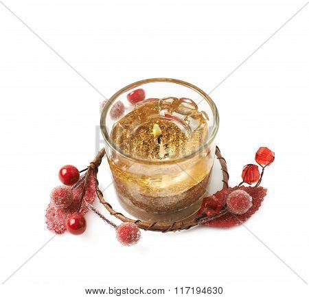Golden gel candle isolated