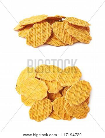 Pile of cheese cookies isolated