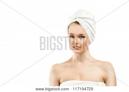 The Beautiful Young Woman In A White Terry Towel