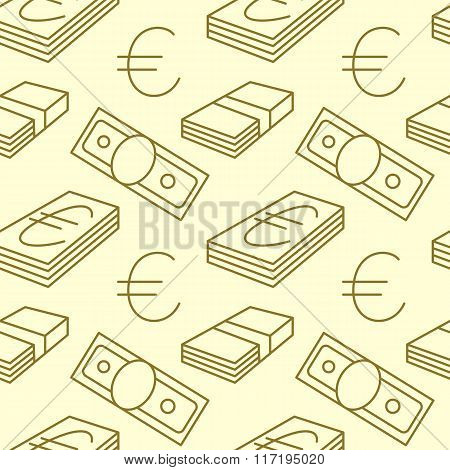Currency seamless pattern. Dollar, Euro sign background. Texture with USD, EUR paper money symbols.