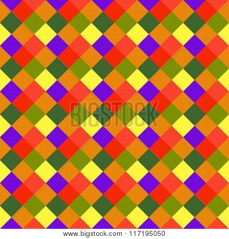 Seamless geometric pattern. Diagonal square, braiding, woven line background. Motley warm, brigth, v