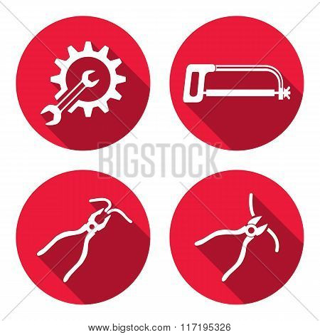 Tools icons set. Saw, pliers, tongs, cogwheel, wrench key, nippers. Repair fix symbols. White round