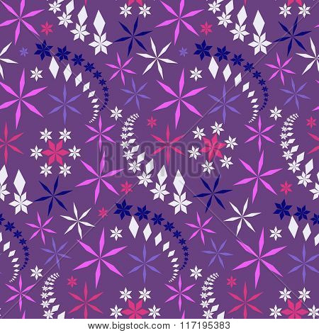 Seamless christmas pattern. Colored snowflakes, crystals, stars on lilac, violet background. Winter,