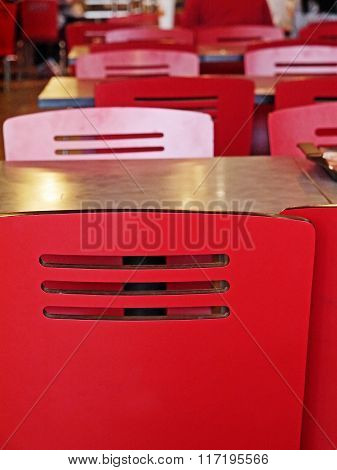 Table With Red Chair In Restaurant