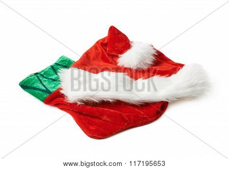 Santa's hat and Christmas stocking isolated