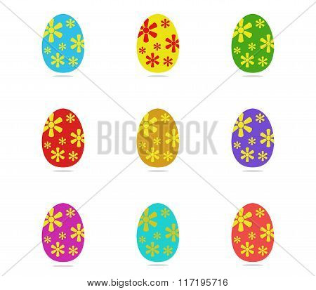 easter eggs illustrated and colored on white background