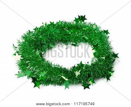 Tinsel garland round frame