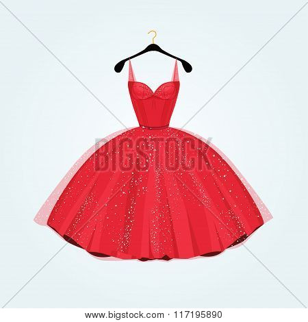 Party dress. Red vintage style party dress.Vector illustration