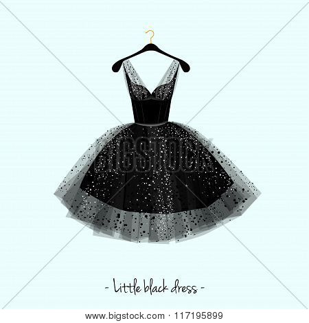 Little black dress. Party dress. Vector illustration