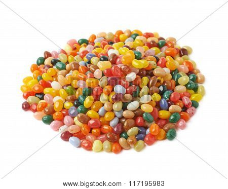 Big pile of jelly beans isolated