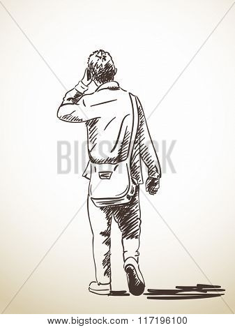 Sketch of walking Man talking on mobile phone, Hand drawn illustration