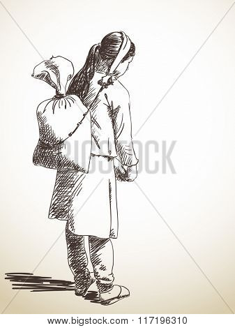 Nepali girl carries a bag on her head in the traditional way. Hand drawn sketch