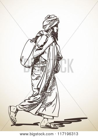 Sketch of walking sadhu, Hand drawn illustration