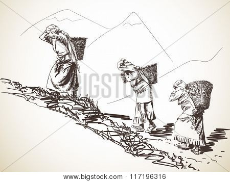 Nepalese women carry basket on head in the traditional way. Hand drawn illustration