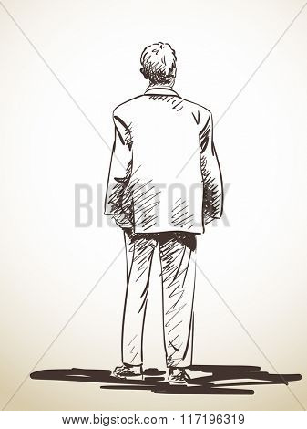 Sketch of standing man in suit from back, Hand drawn illustration