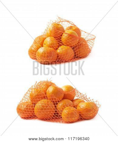 Mesh bag full of tangerines isolated