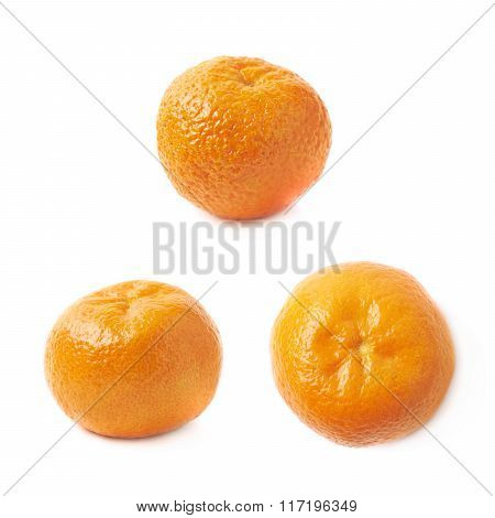 Single tangerine fruit isolated