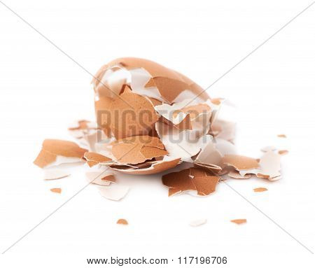 Pile of cracked egg shells isolated