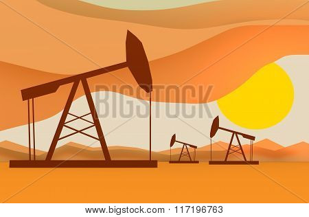Oil Pumps In Sunset Illustration