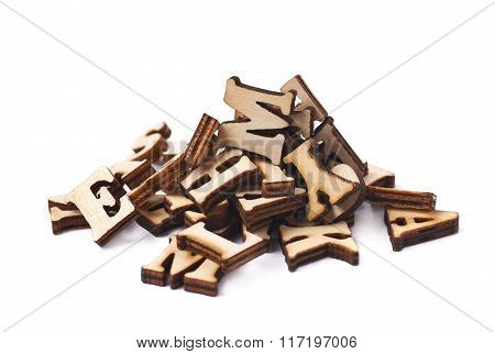 Pile of wooden letters isolated
