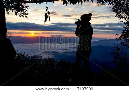 Photographer Camera Shooting Silhouette Outdoors Concept With Tree Frame