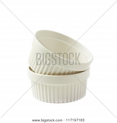 Porcelain souffle ramekin dishes isolated