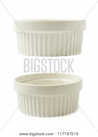 Porcelain souffle ramekin dish isolated