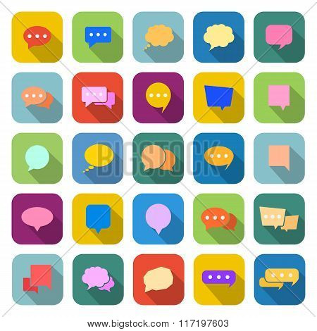 Speech Bubble Color Icons With Long Shadow