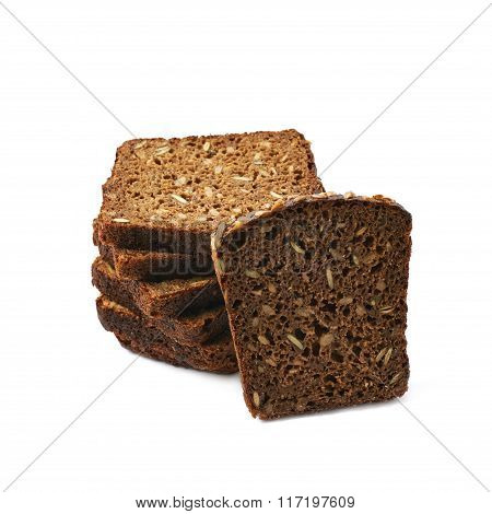 Black bread slices stack isolated