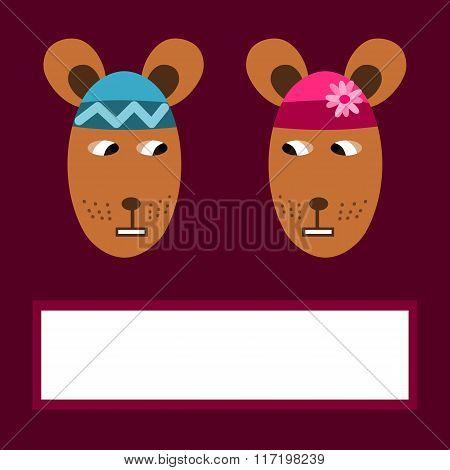 Cute cartoon animals couple - bears