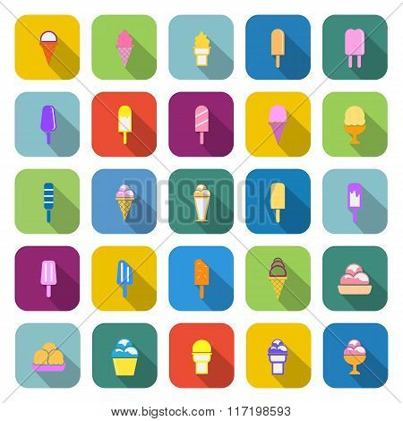 Ice Cream Color Icons With Long Shadow