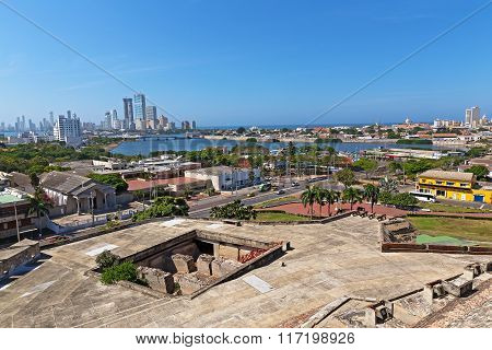 A view on historic and modern Cartagena from San Filipe de Barajas Castle Colombia.