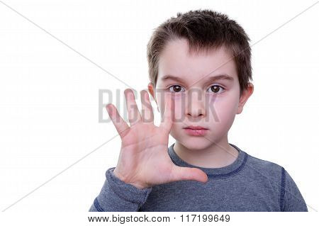 Little Boy With Five Fingers Up
