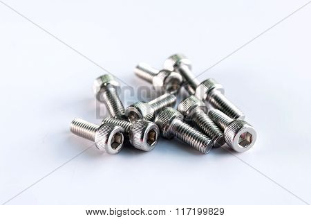 Bolts isolated on white background.