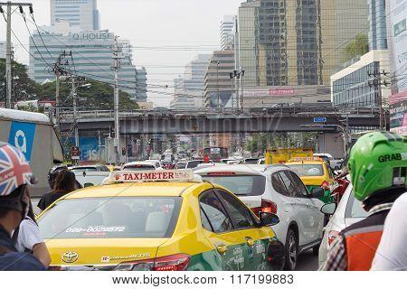 Traffic Jams In Bangkok.