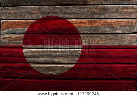 Flag Of Greenland On Wood